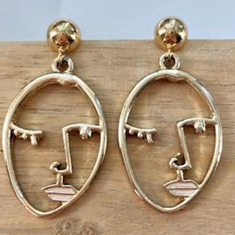 Gold Faces Earrings
