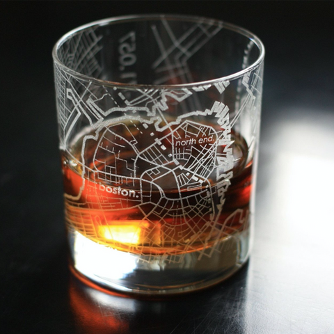 BOSTON (Set of 2) Map Rocks Glasses