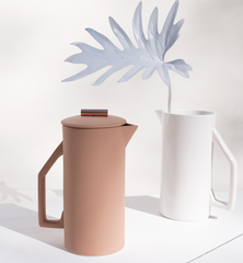 matte blush and white ceramic french press pictured