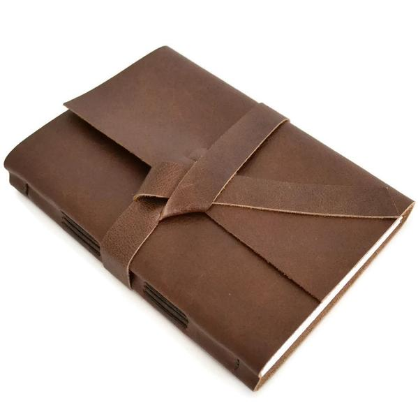 Unlined Dark Brown Leather Journal