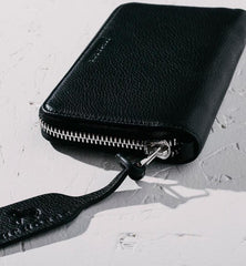 Leather Wristlet Wallet in Black