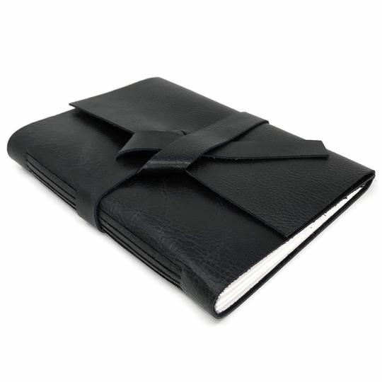 Unlined Black Leather Journal
