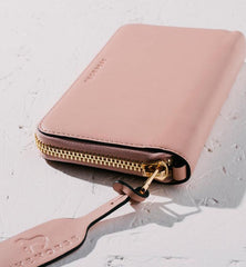 Leather Wristlet Wallet in Blush