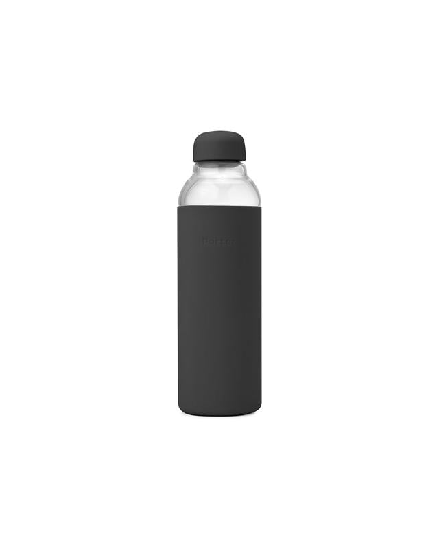 Reusable Glass Water Bottle - Charcoal
