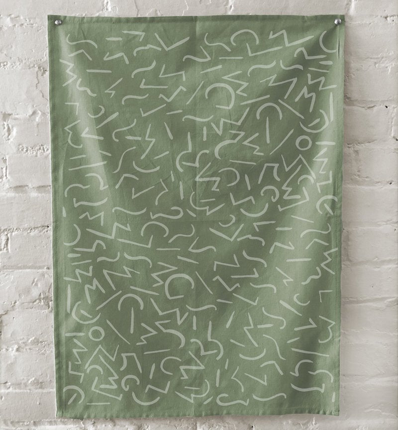 Green Glyphs Tea Towel
