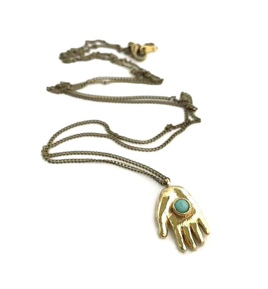 Giving Hand Necklace and Turquoise Amulet