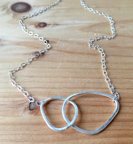Sterling Silver Double Geometric Necklace