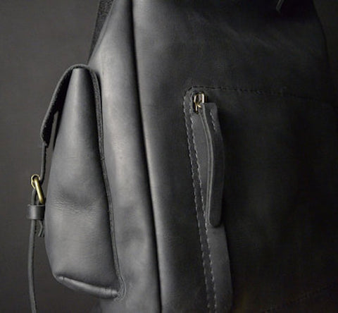 gender neutral black leather backpack side angle