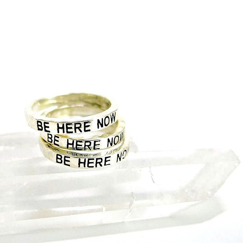 """Be Here Now"" Sterling Silver Stack Ring"
