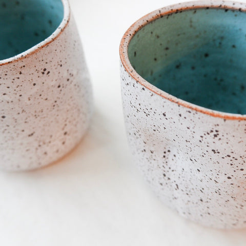 White and Turquoise Ceramic Thumb Mug