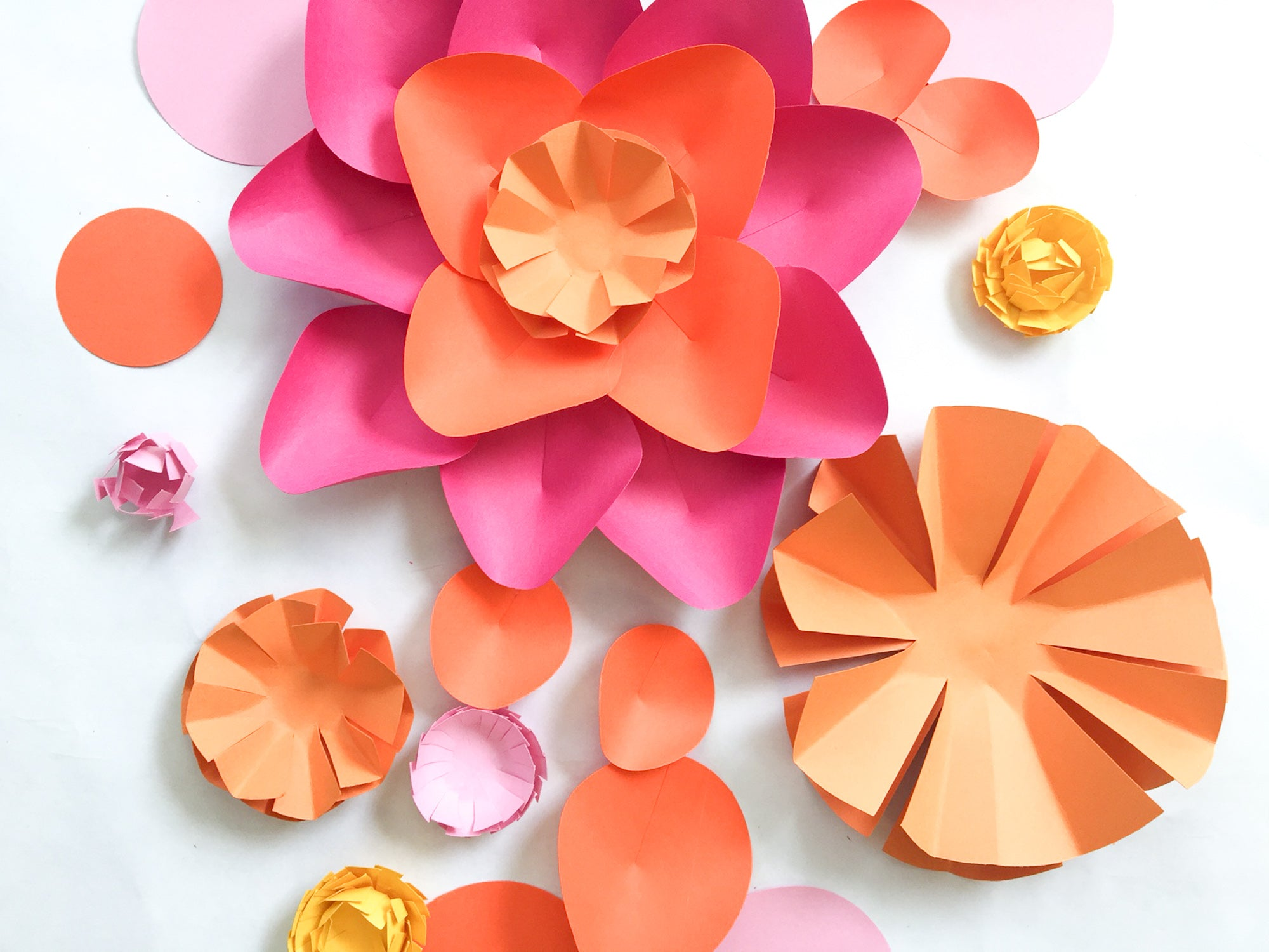 Mix and Match Cardstock Paper Circle Flowers
