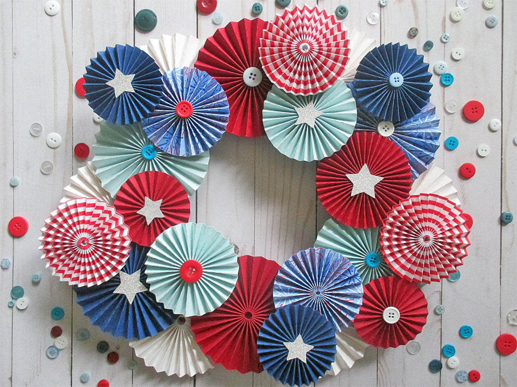 DIY Patriotic Rosette Wreath