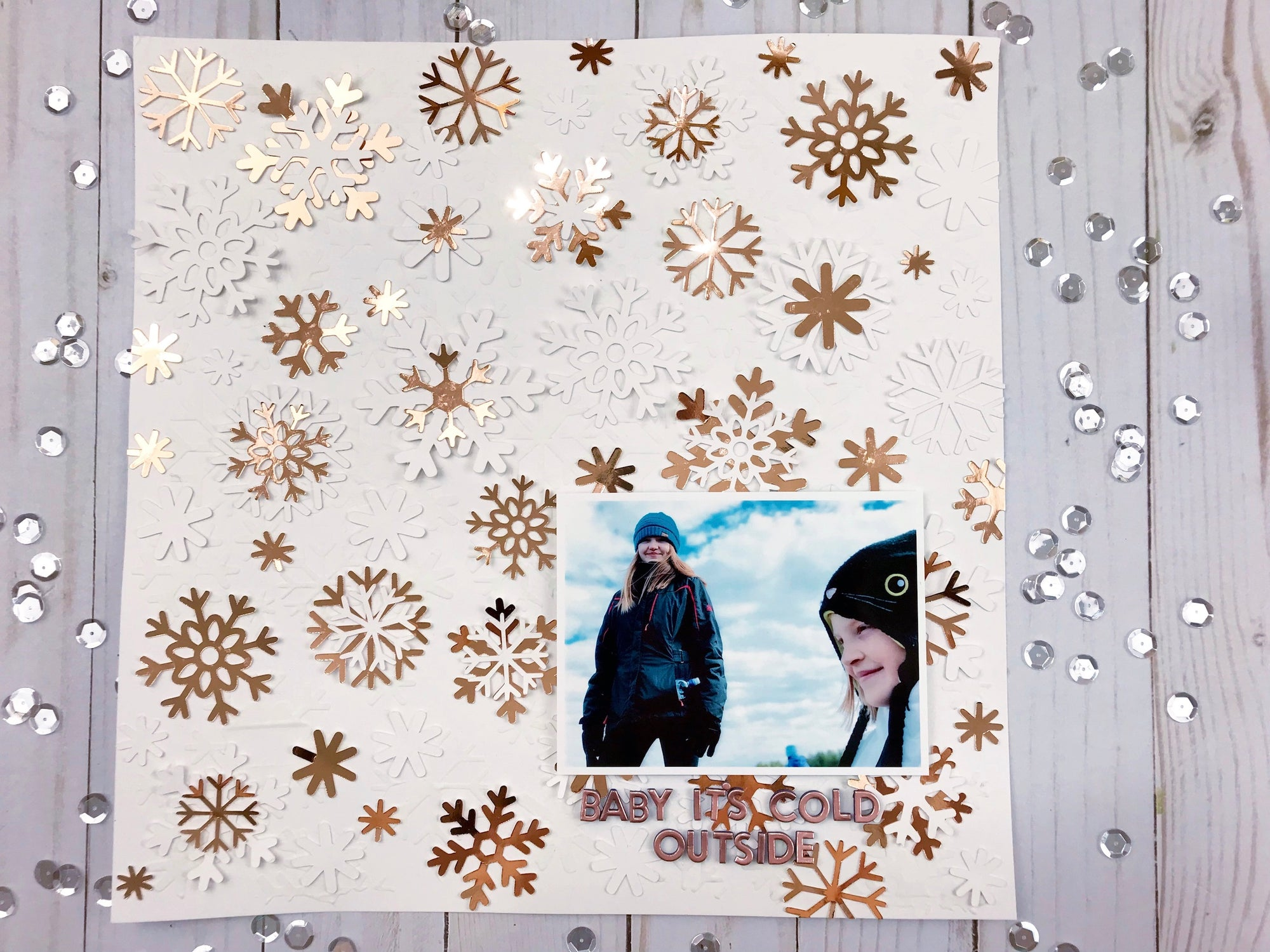 Falling Snow Scrapbook Layout