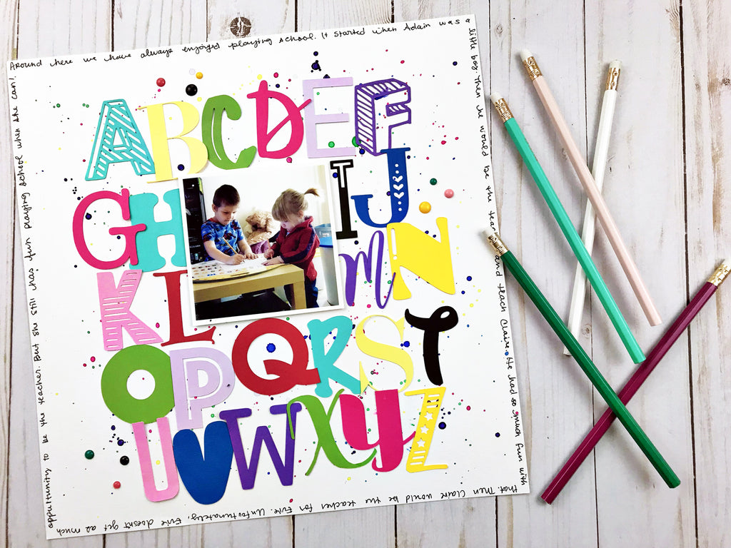 DIY Alphabet Soup Scrapbook Layout