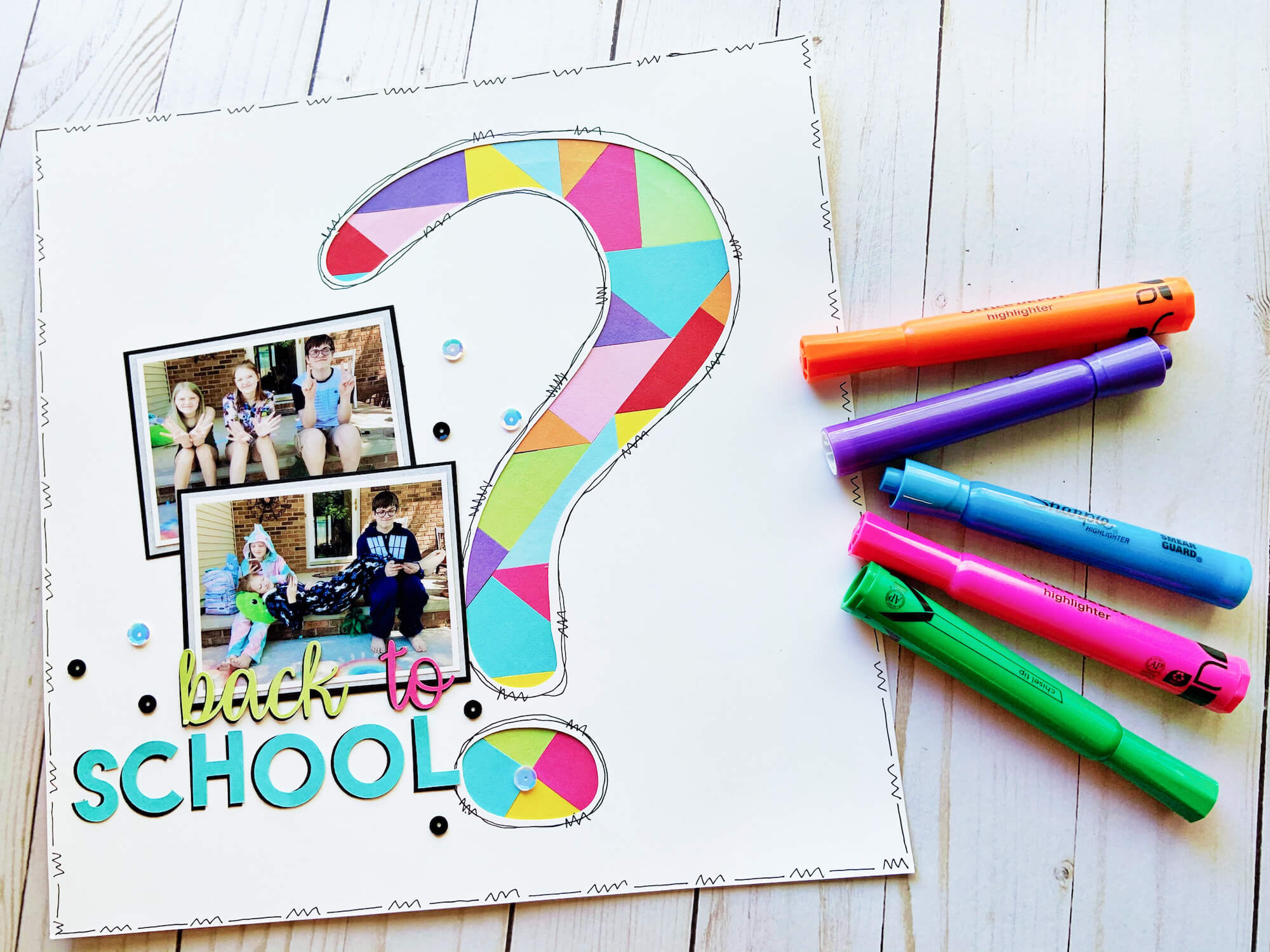 Back to School Paper Mosaic Scrapbook Layout