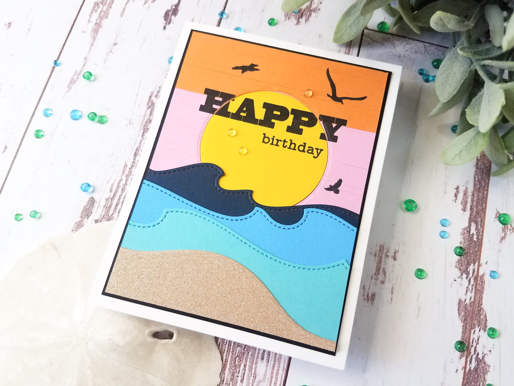 Ocean Die Cut Layers Birthday Card