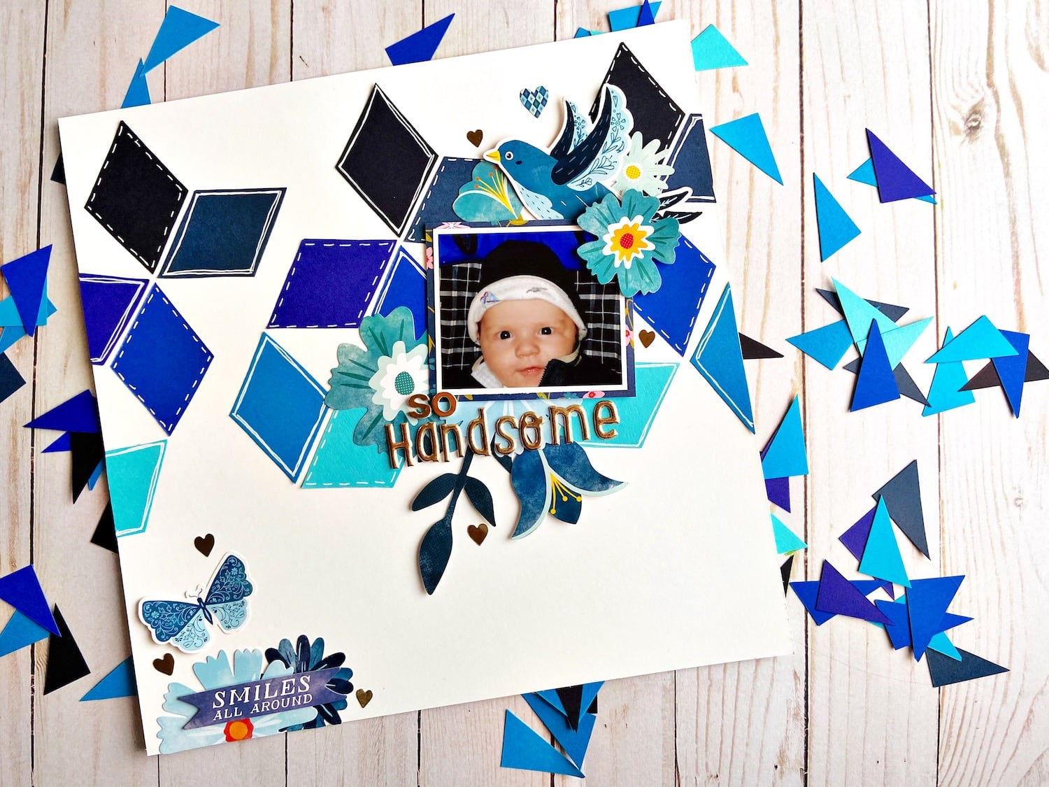 Beautiful Blues Diamond Scrapbook Layout