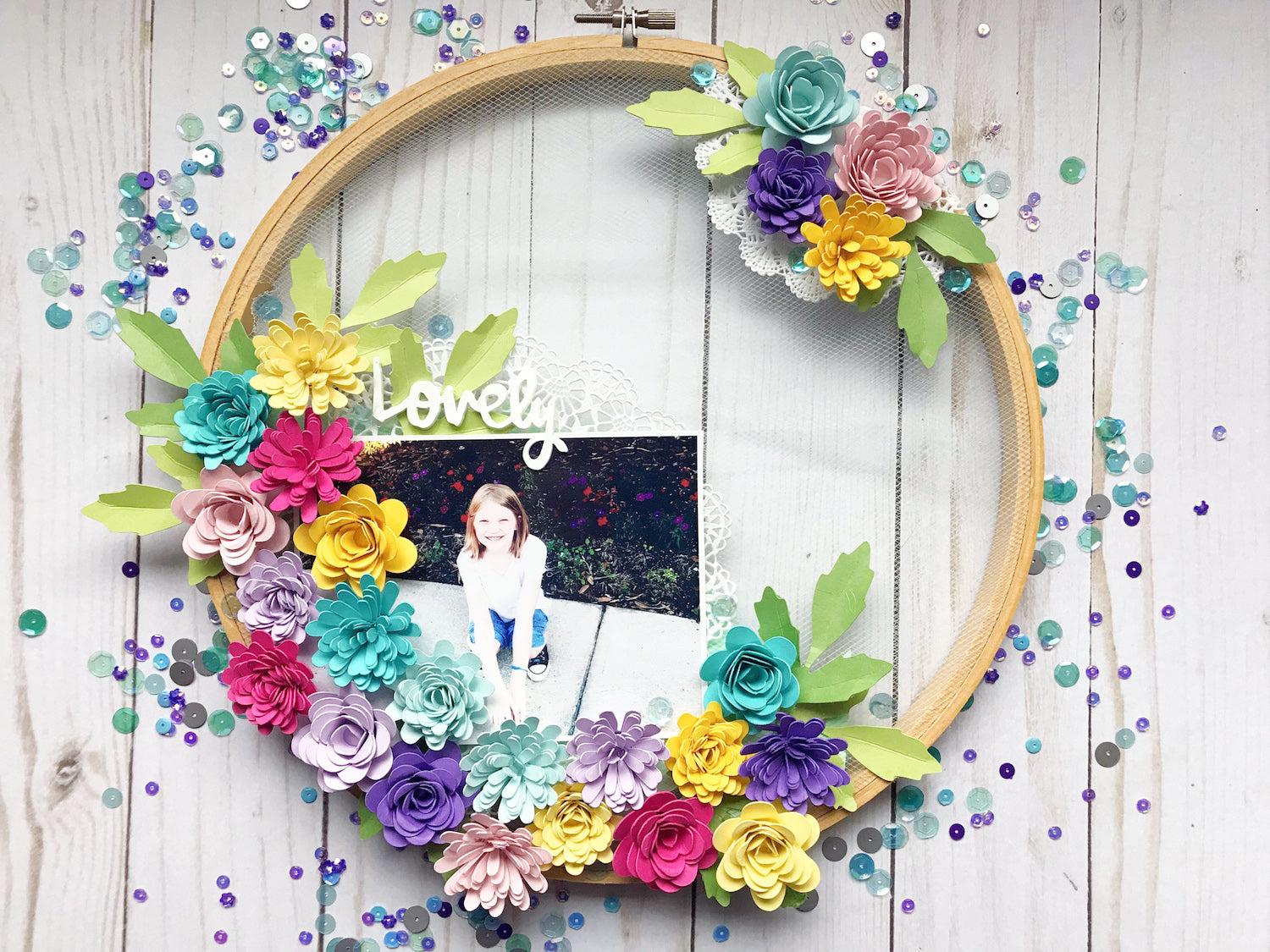 Paper Flower Hoop Home Decor