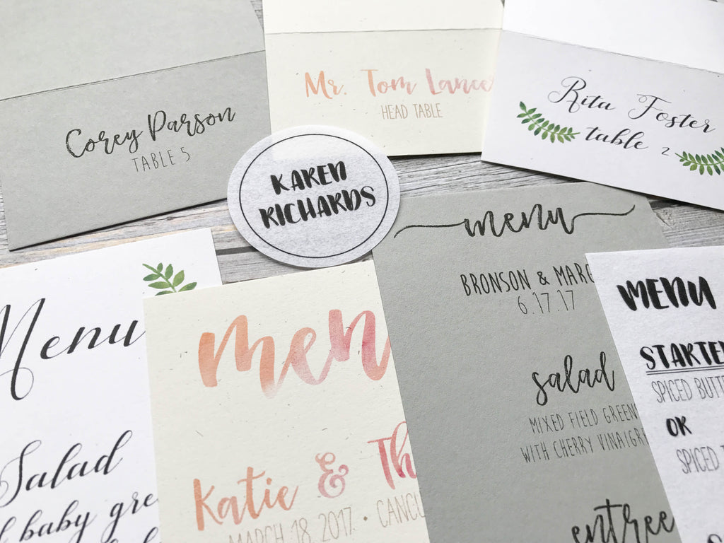diy wedding menus place cards programs on cardstock paper how