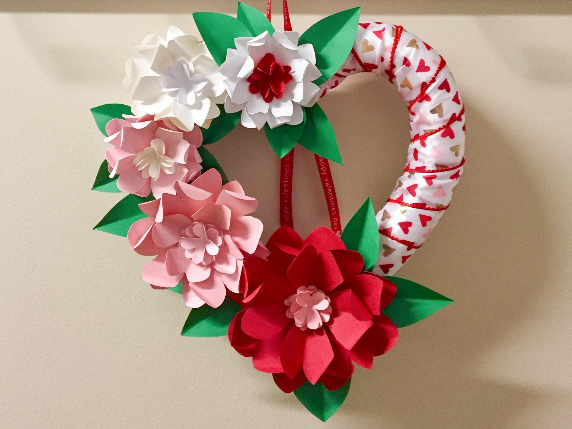 DIY Valentine's Day Wreath with Paper Flowers