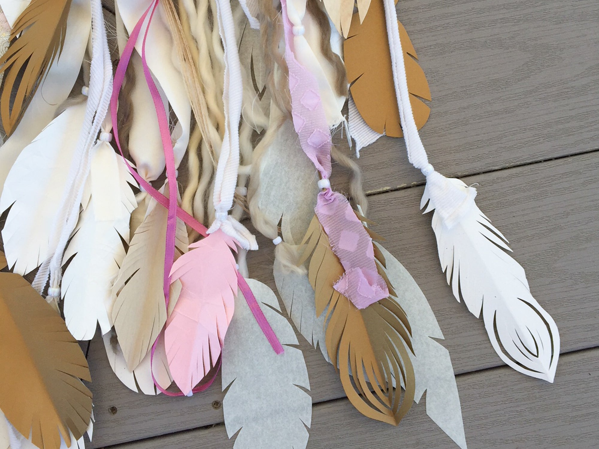 DIY Cardstock Paper Feather Wall Art Hanging