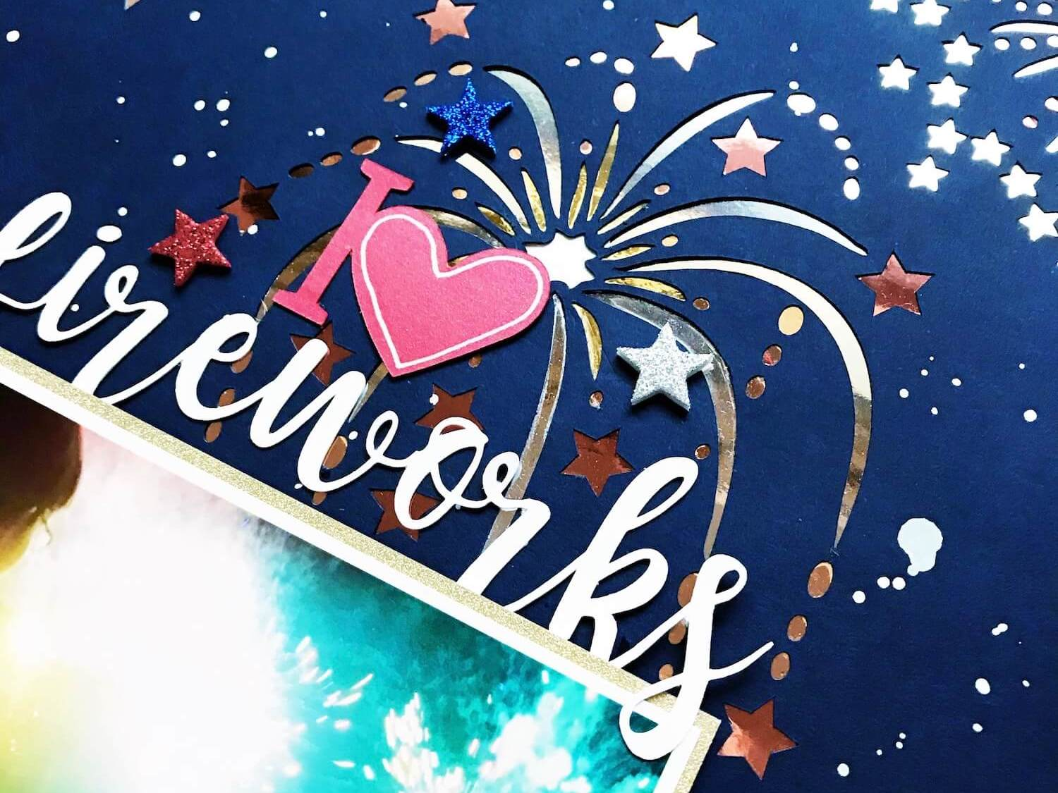 Paper Fireworks Scrapbook Layout