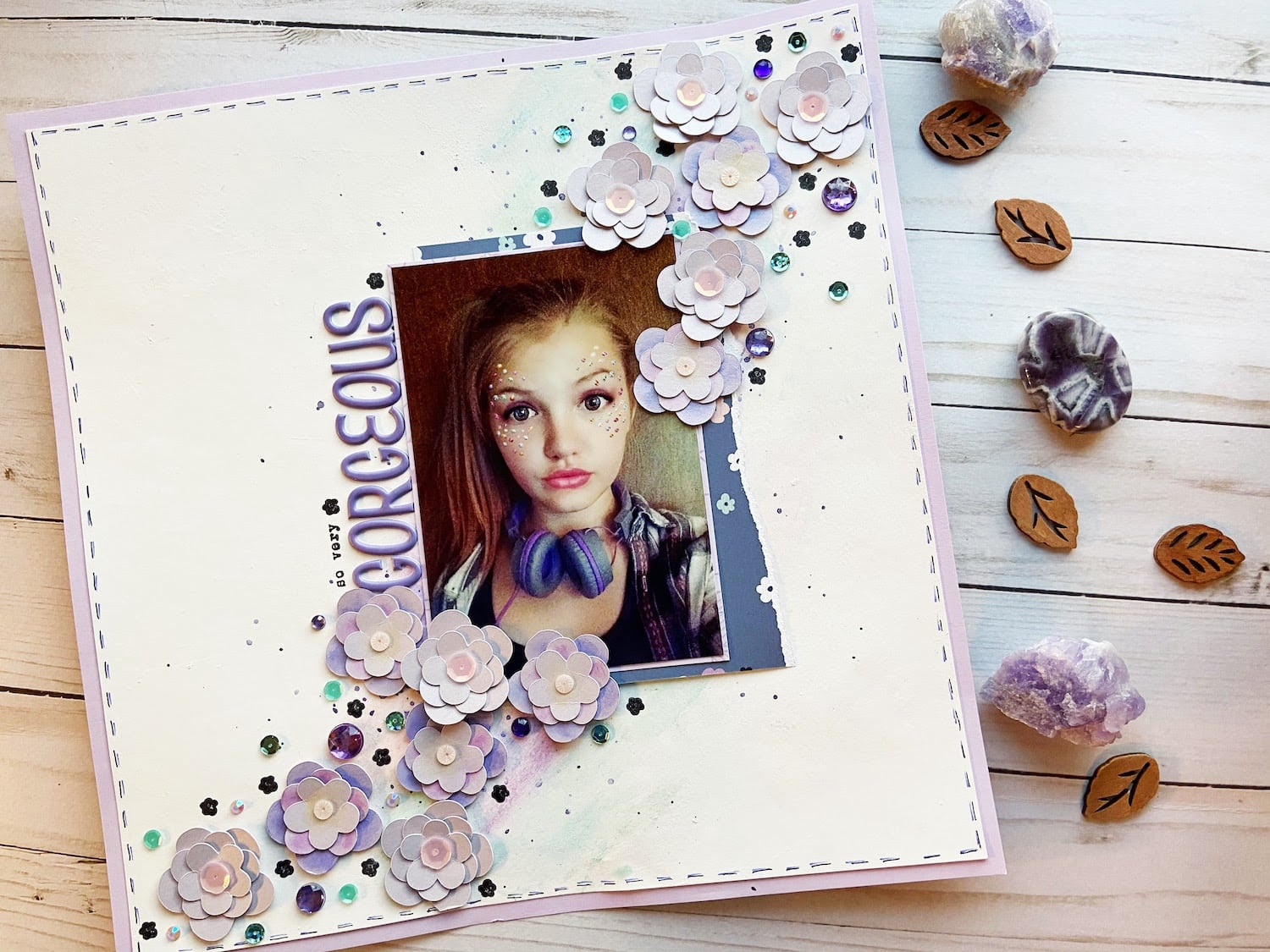 Shimmery Floral Scrapbook Layout