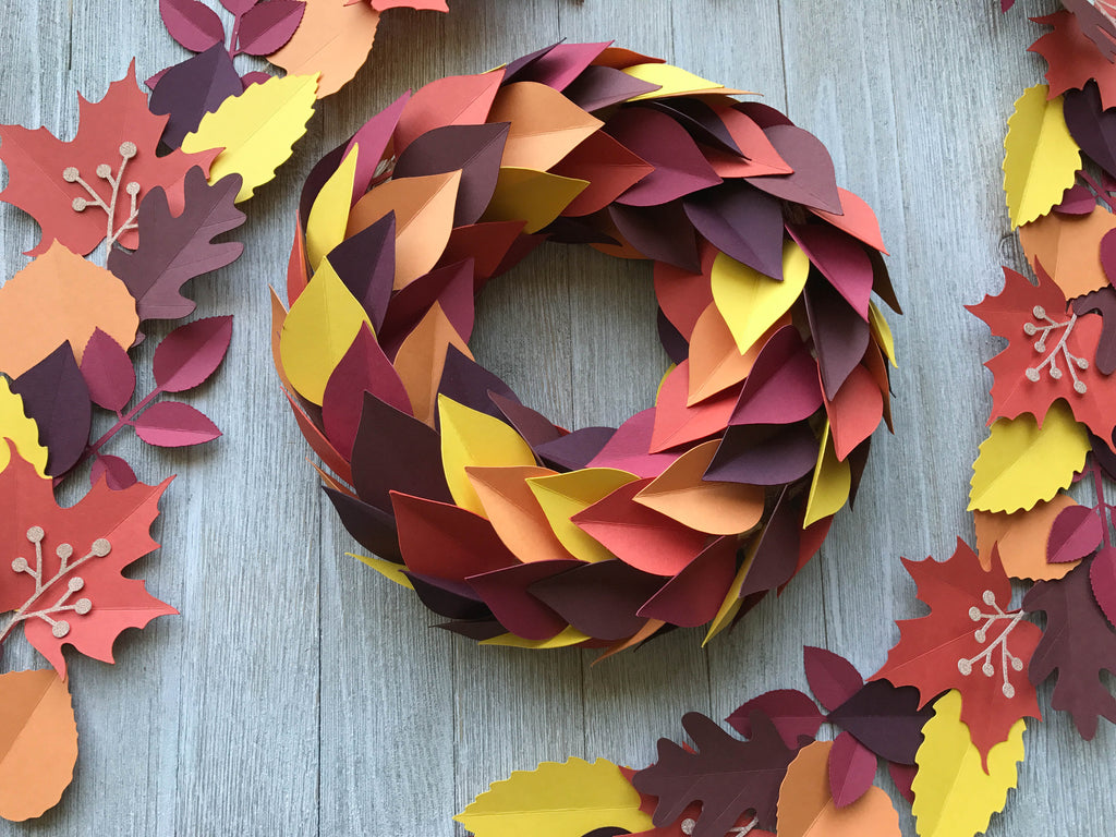 Paper Leaves Wreath and Garland