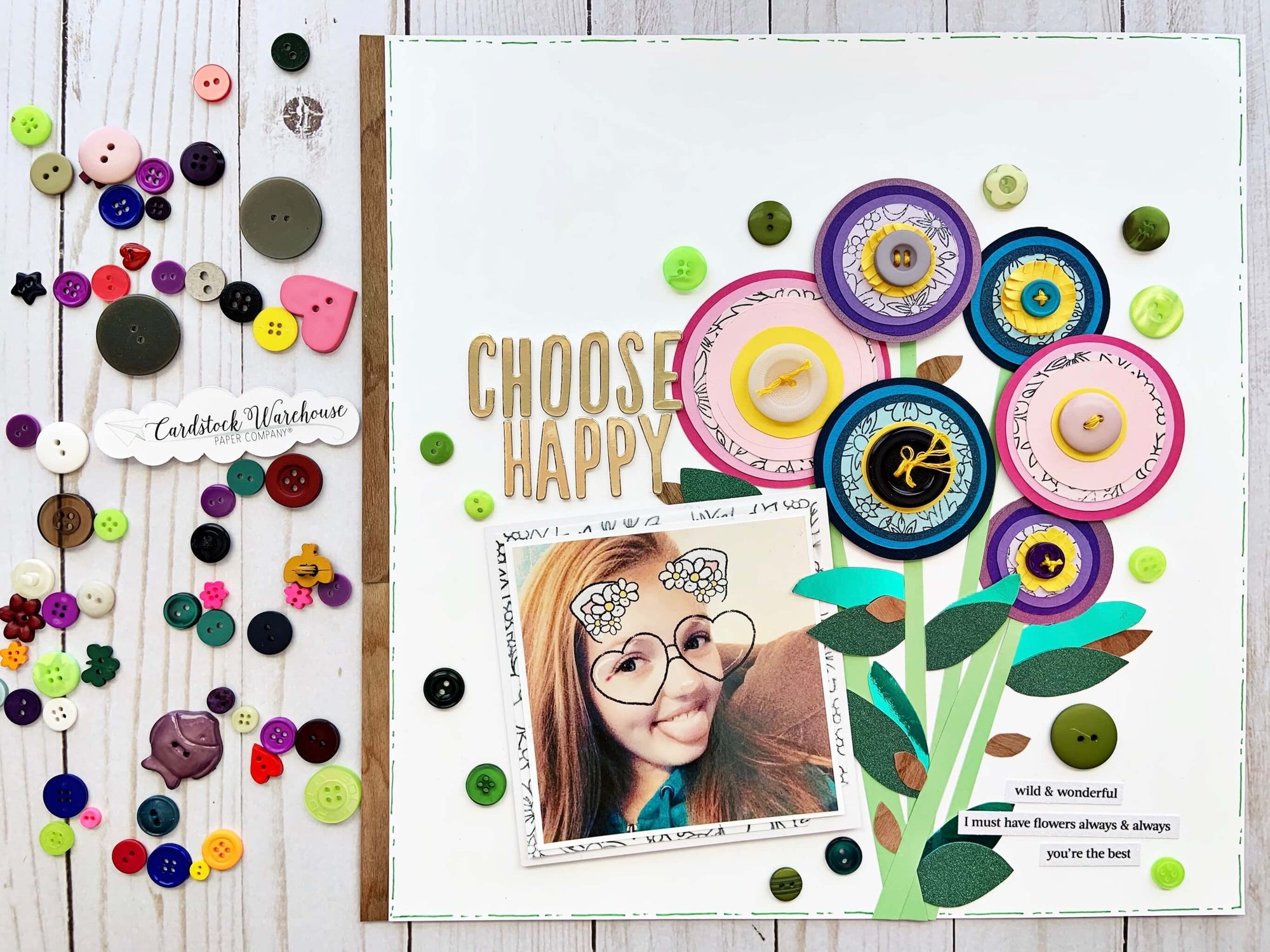 Paper Scraps Lollipop Flowers Scrapbook Layout