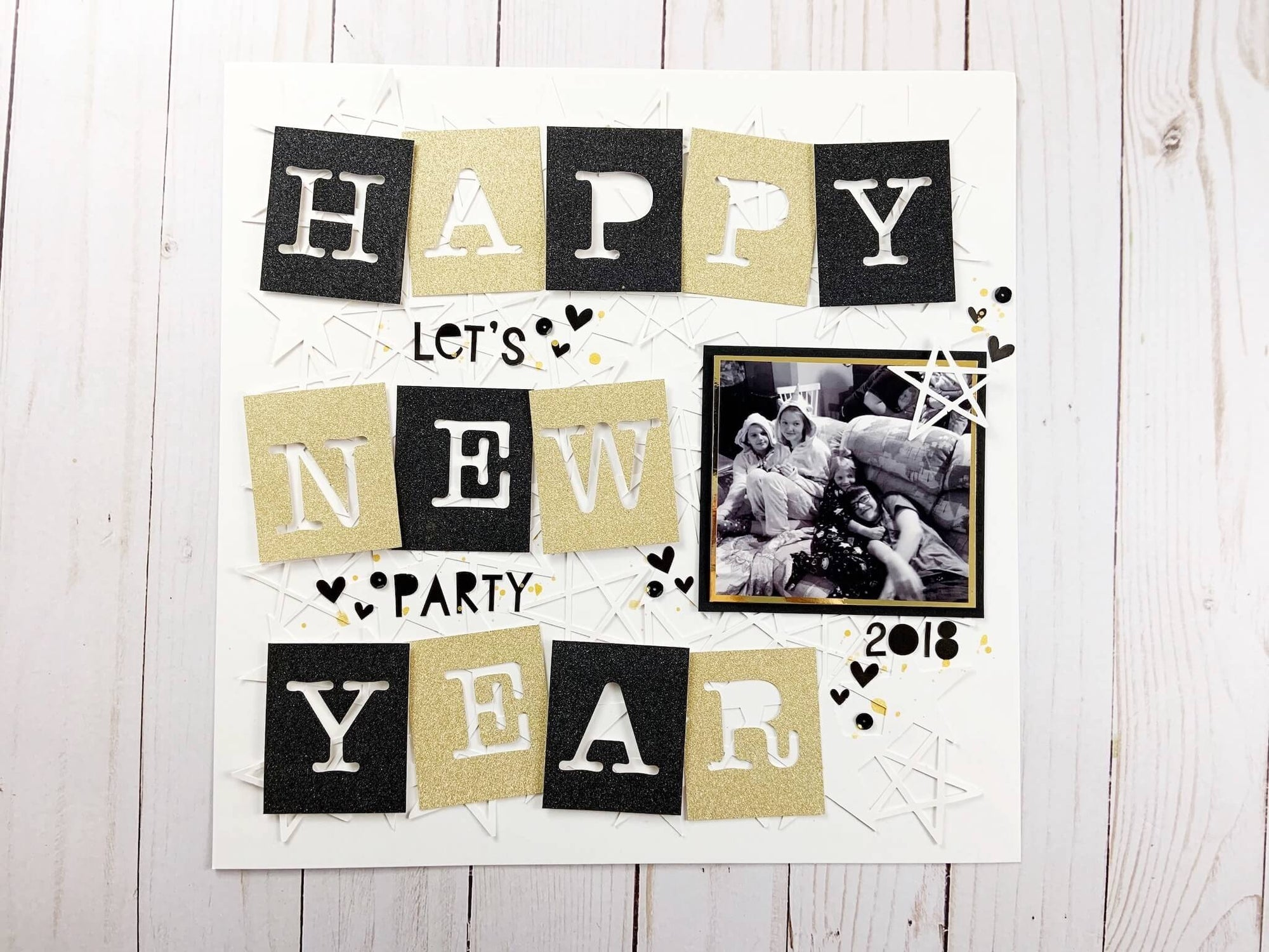 New Years Sparkly Scrapbook Layout