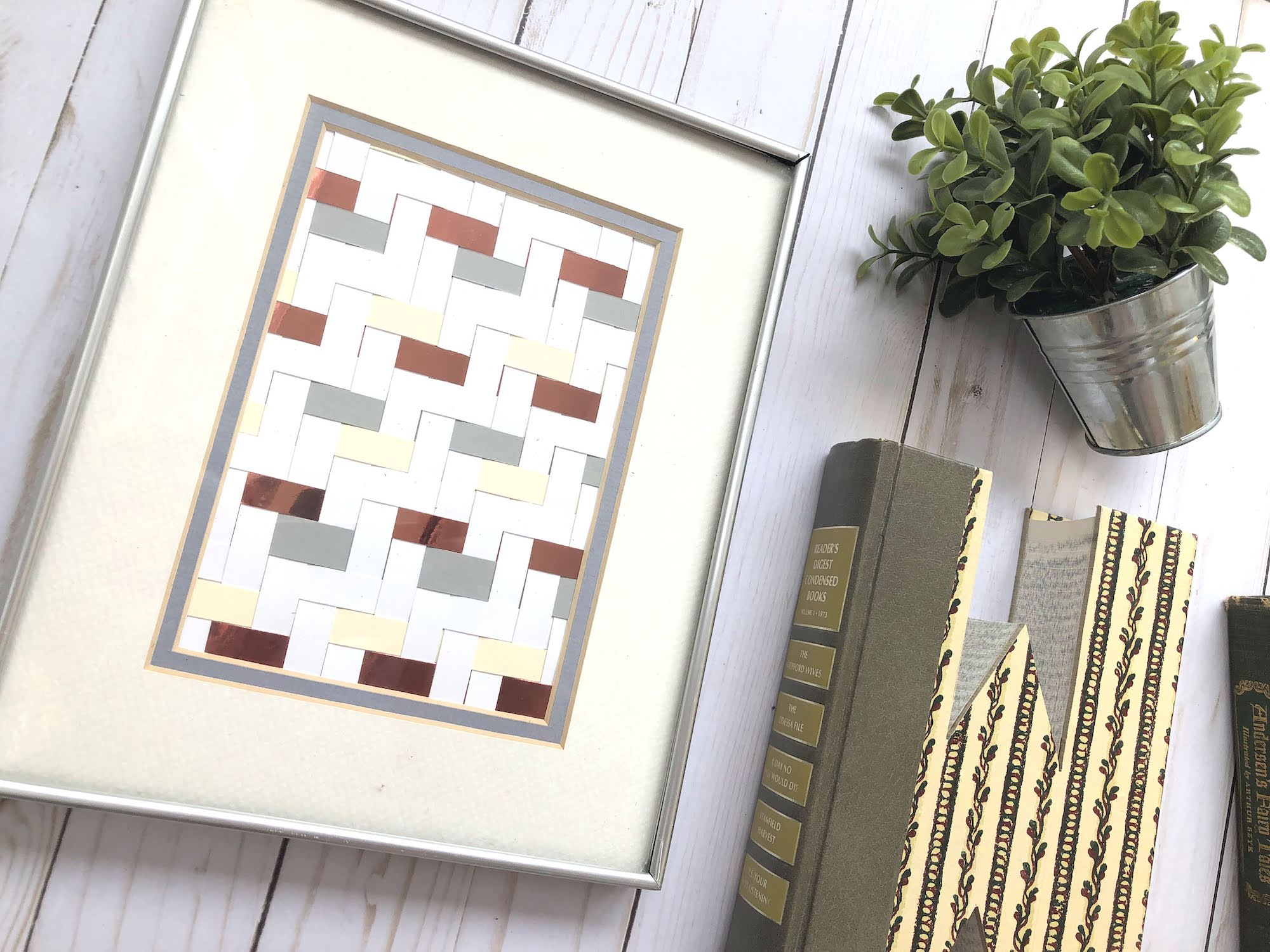 DIY Cardstock Paper Weaving Framed Art