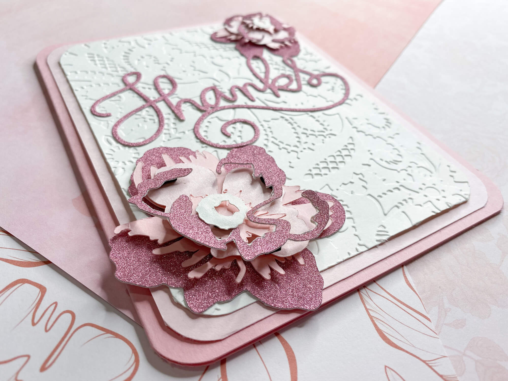 Pink Sapphire Sparkle Thank You Card