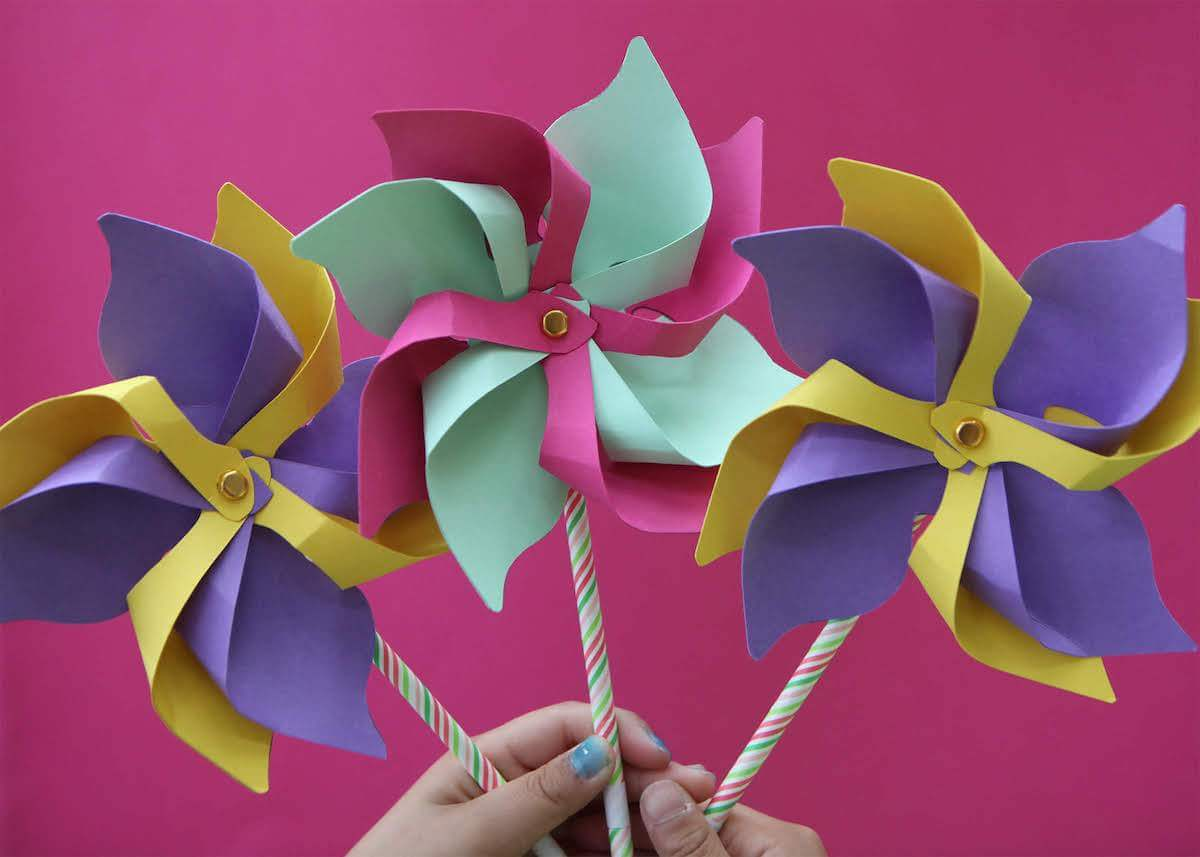 Decorative 3D Paper Pinwheels