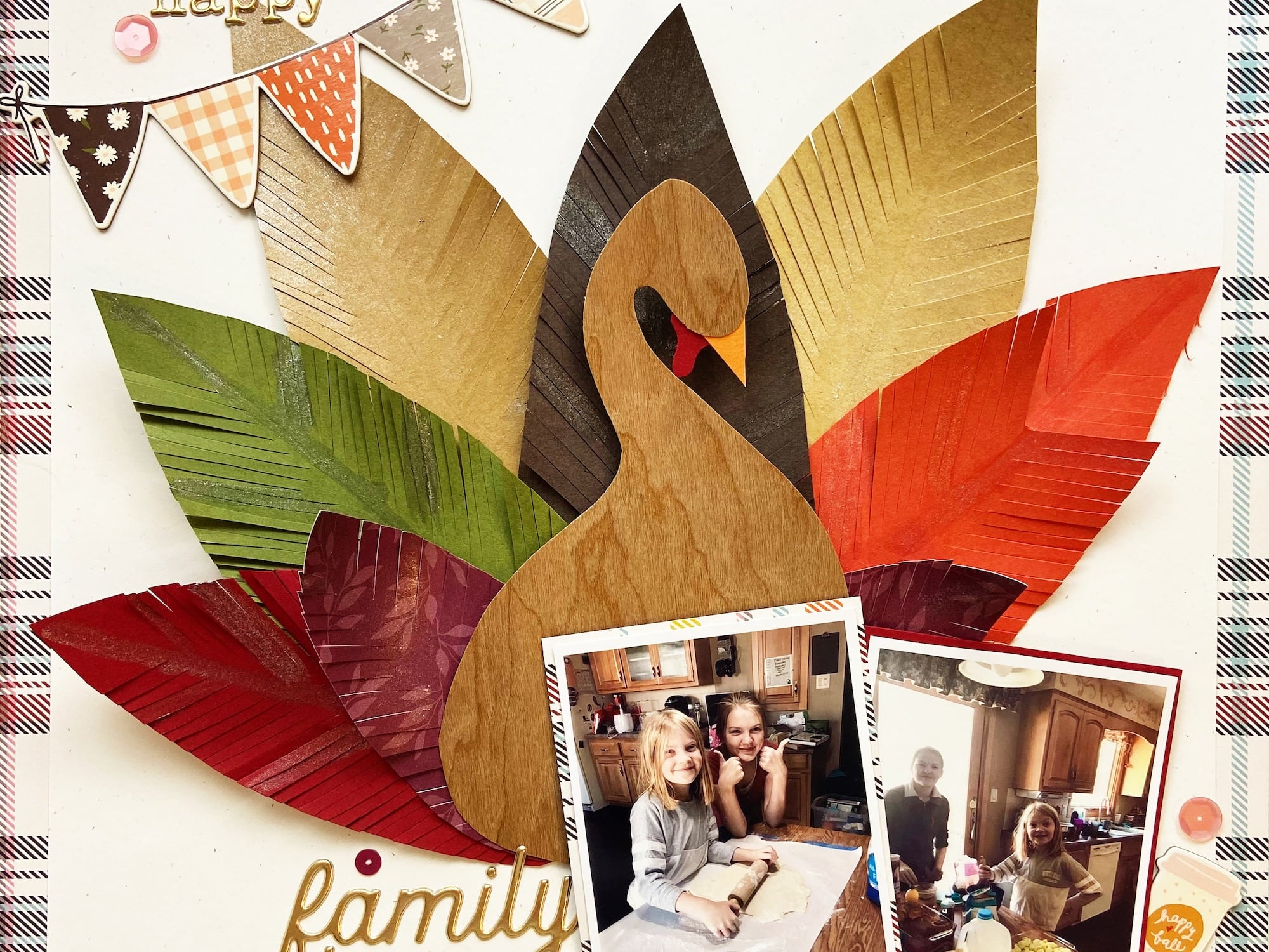 Paper Turkey Feather Scrapbook Layout