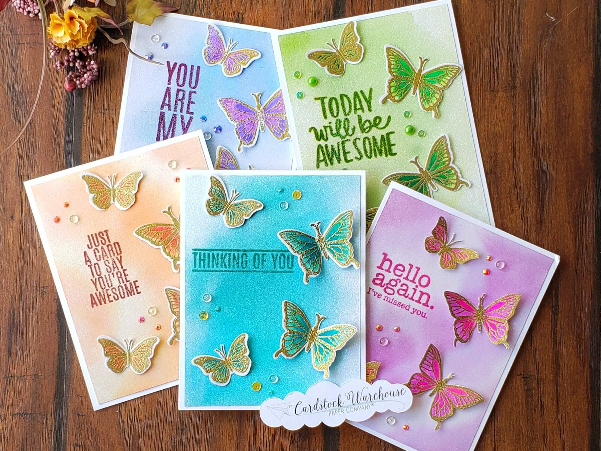 Watercolor Sparkle Paper Butterfly Cards