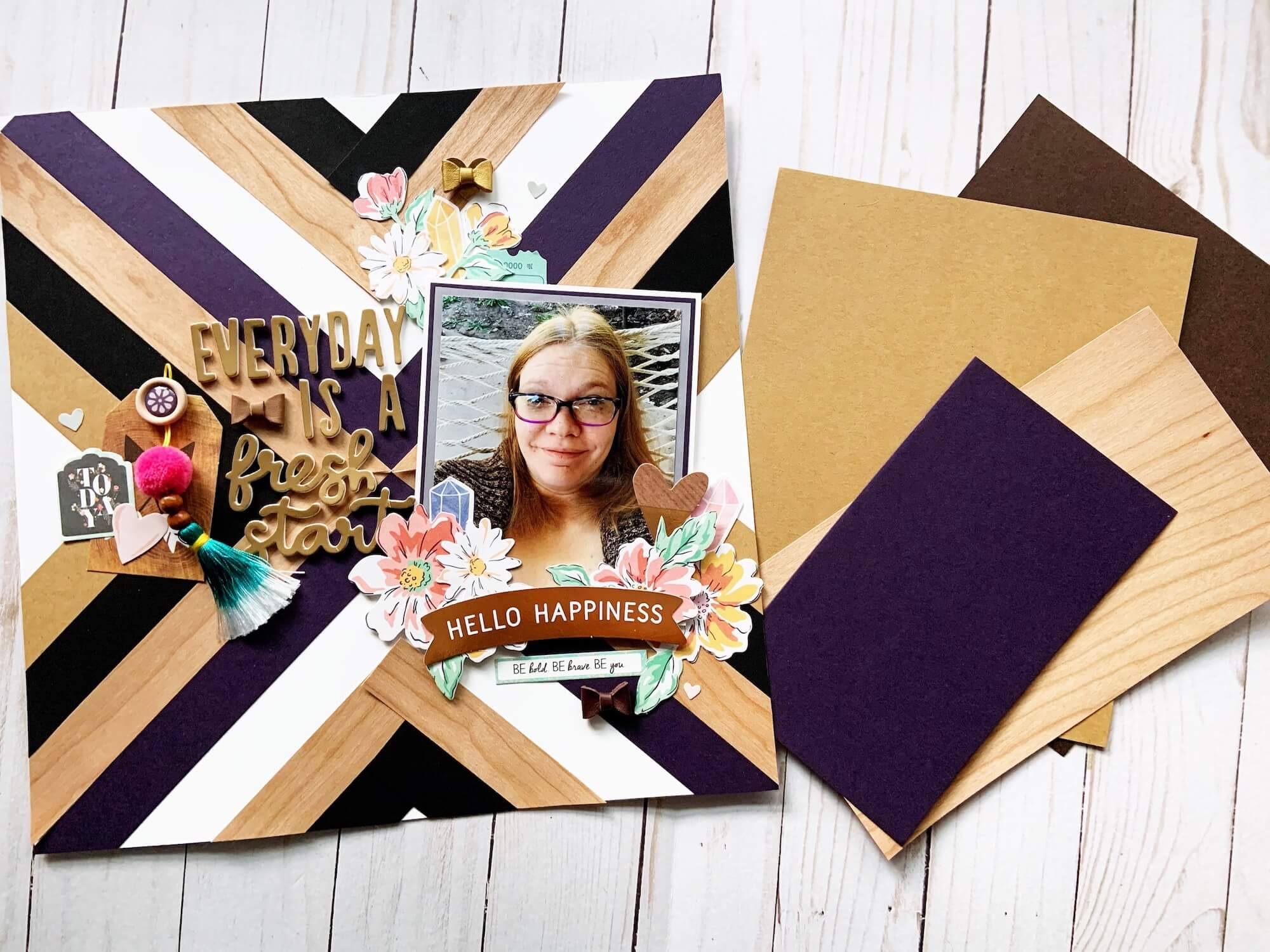 Wood Veneer Geometric Patterned Scrapbook Layout
