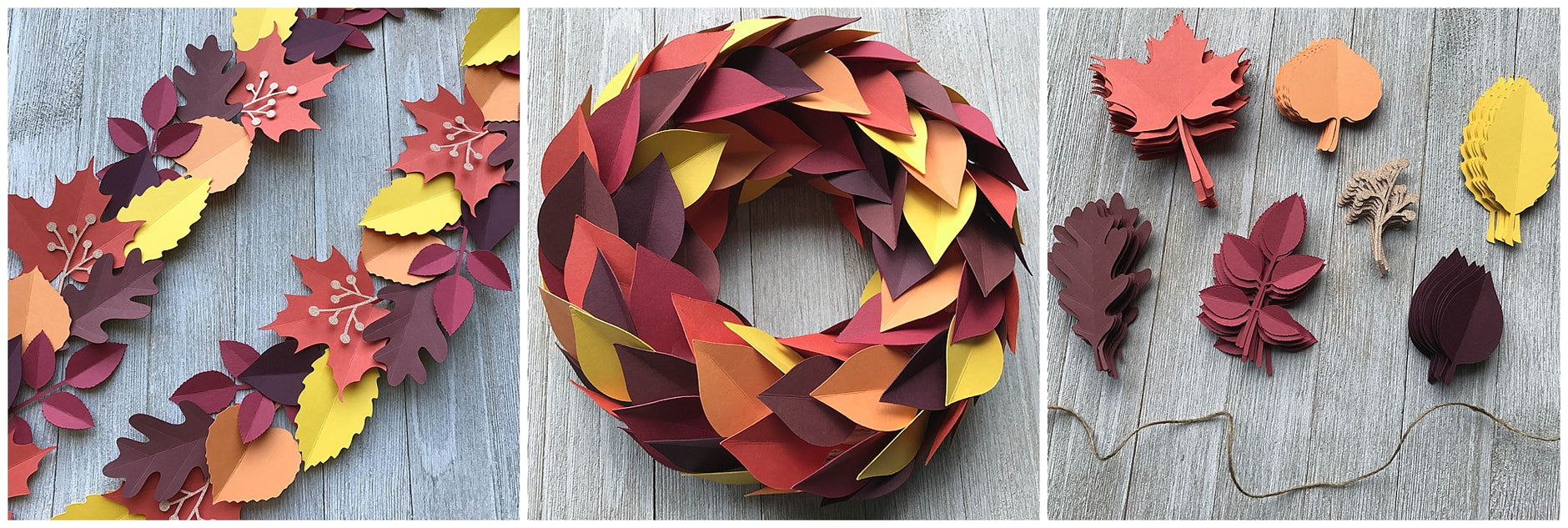 DIY Paper Leaves Garland and Wreath