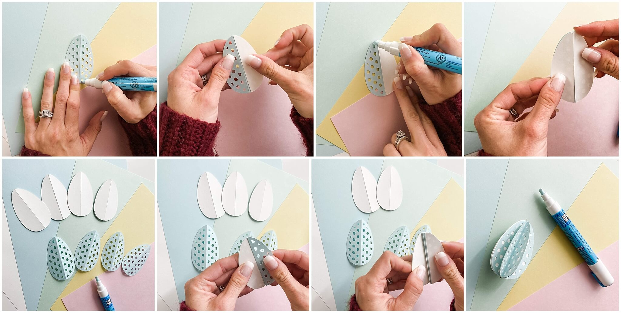 3D Easter Egg Home Decor Gluing Eggs Together