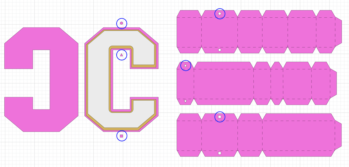 design space screenshot of 3d letters