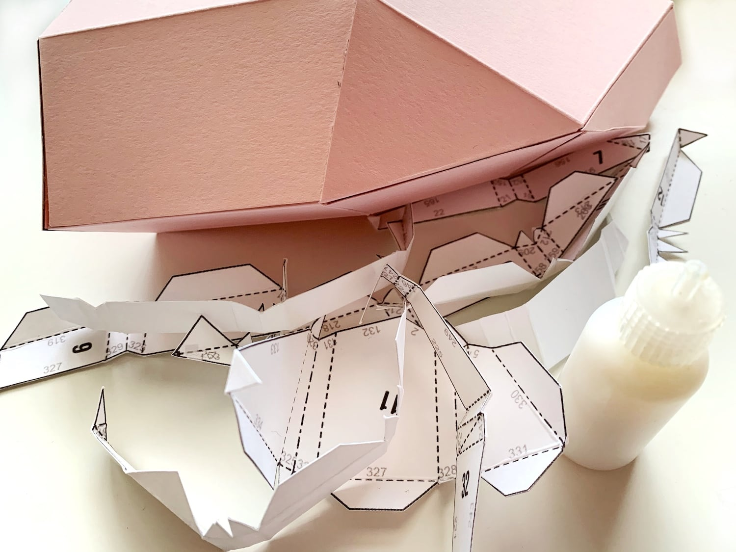 gluing pieces for paper sculpture