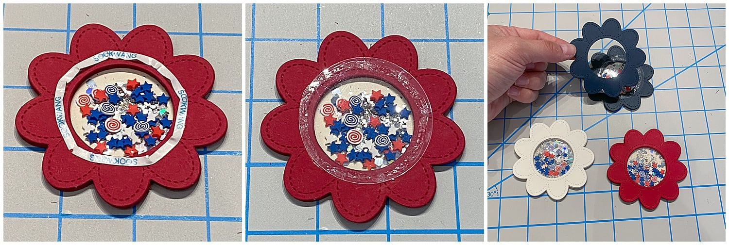 adding acetate and sequins to 4th of July shaker cards