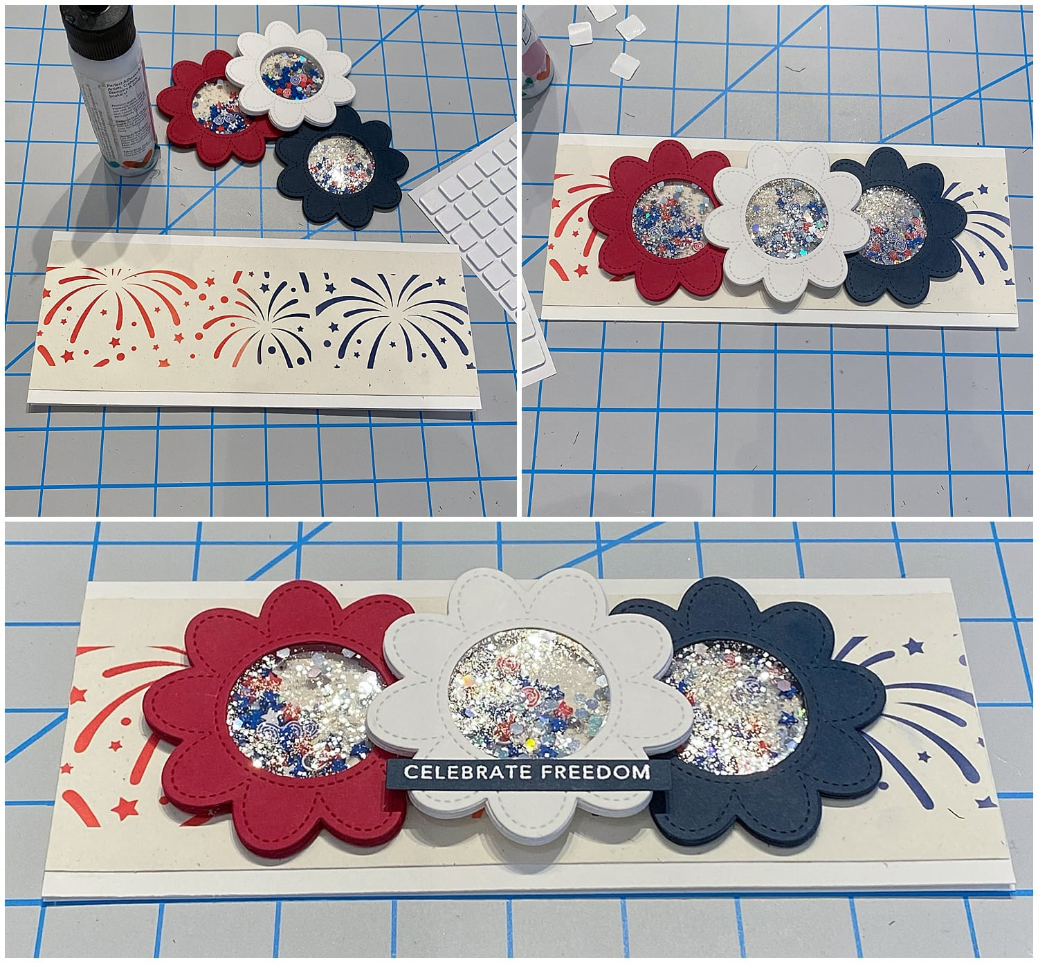 assembling shaker cards with die cut flowers
