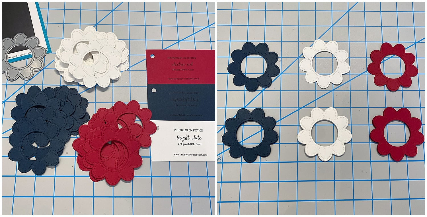 die cut flower pieces for 4th of July shaker card