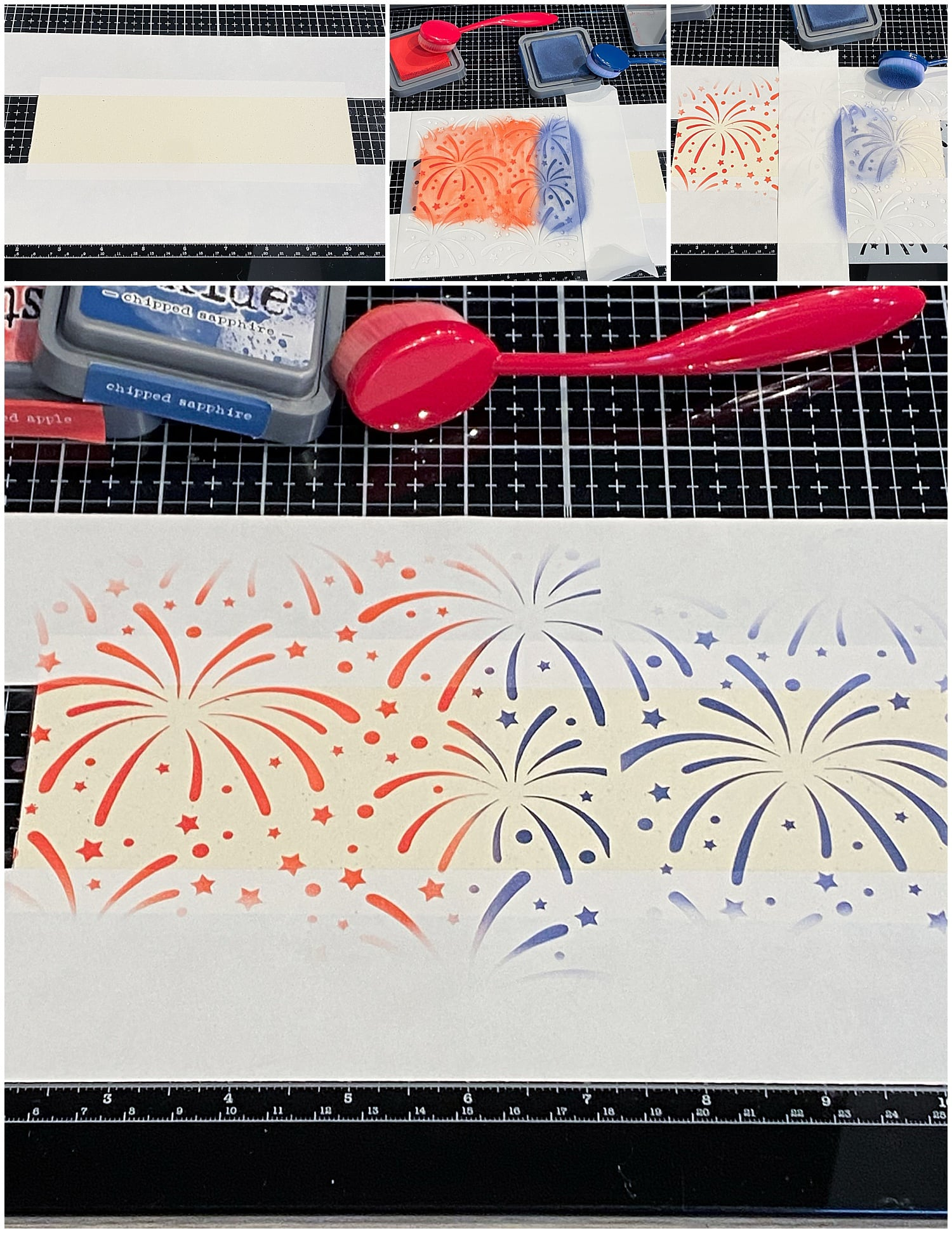blending red and blue fireworks onto Madero Beach panel