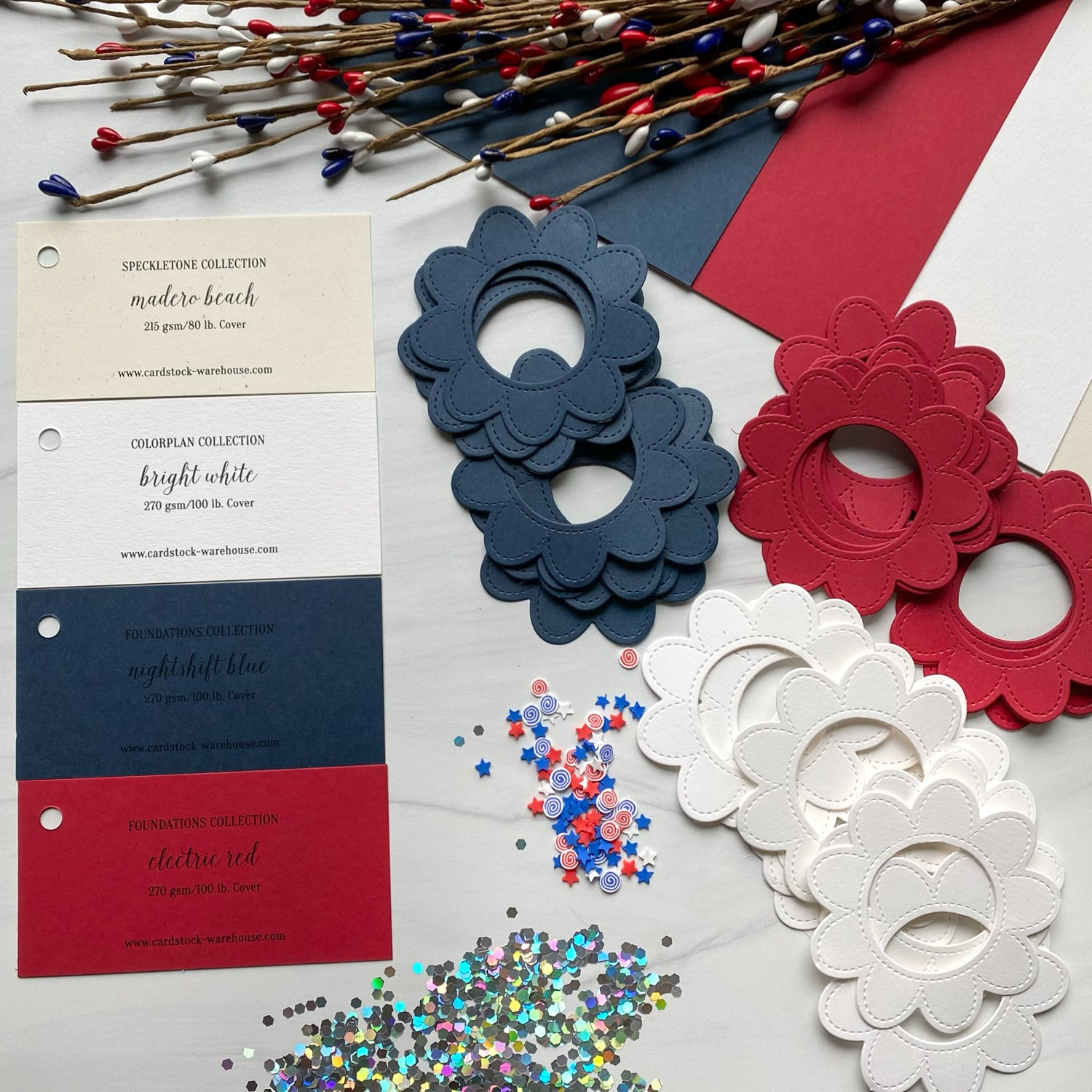 supplies for 4th of July shaker cards