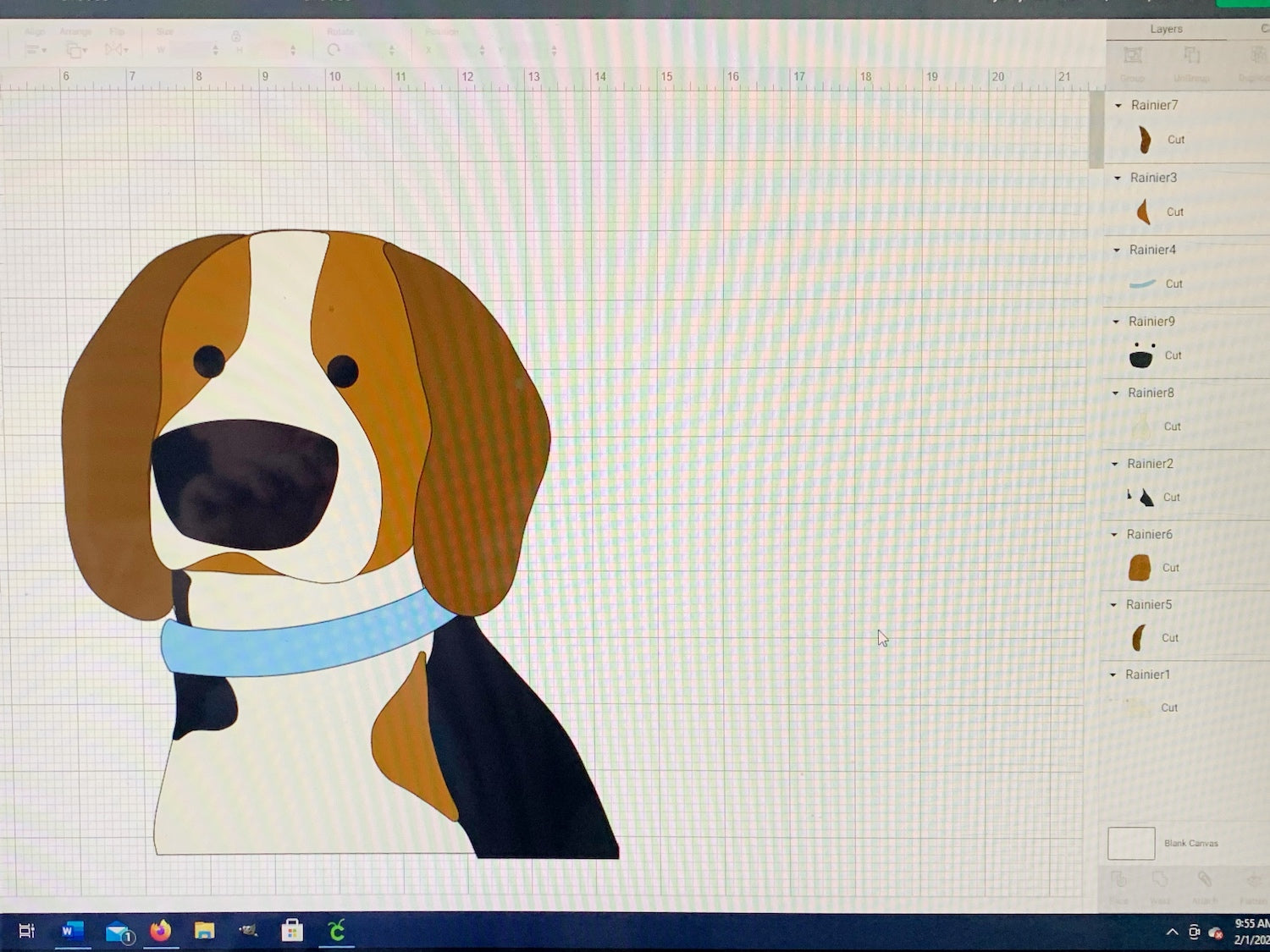 layers of dog portrait uploaded into Cricut Design Space