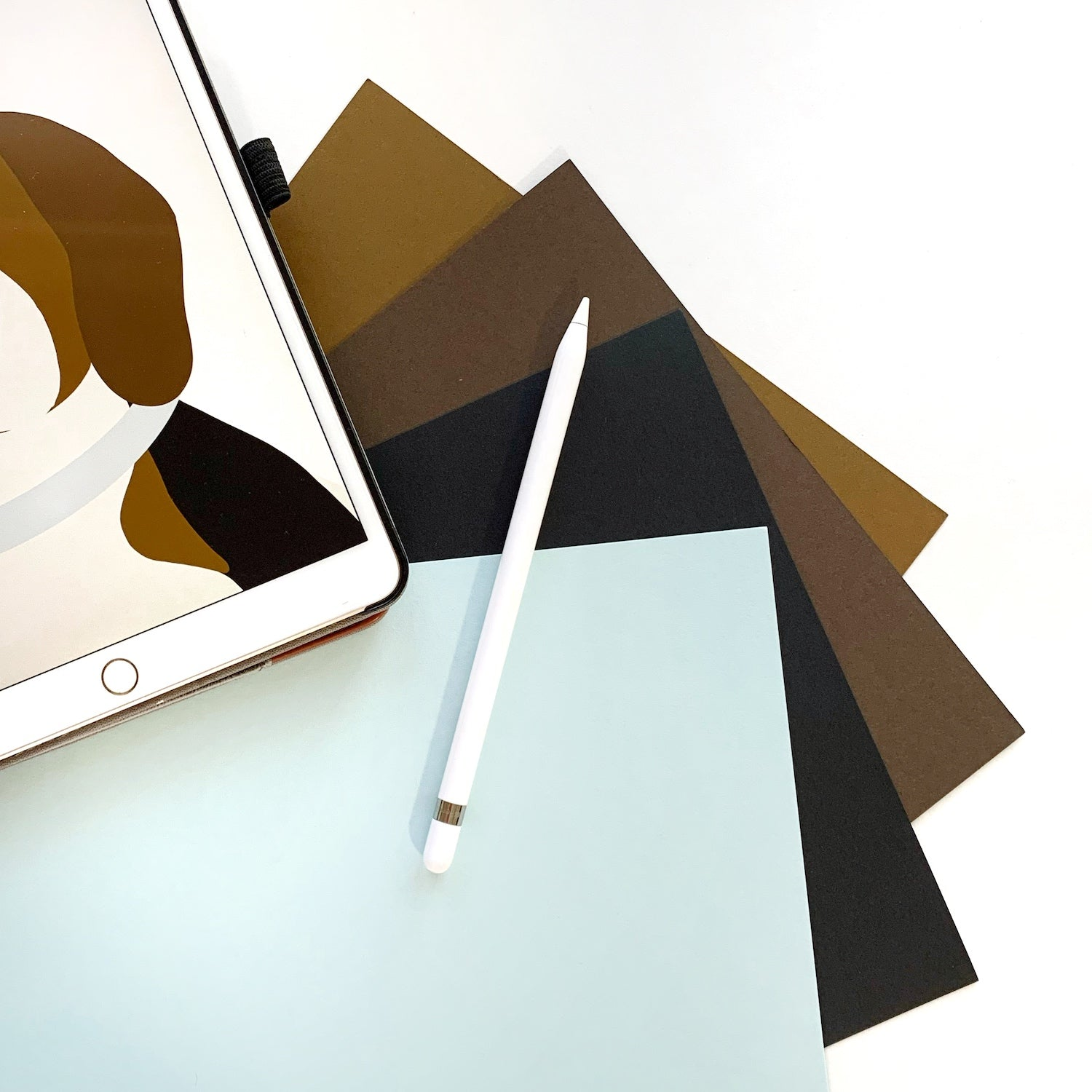 Speckletone Brown, Speckletone Chocolate, Black Licorice, and Sno Cone Papers with iPad and Apple Pencil