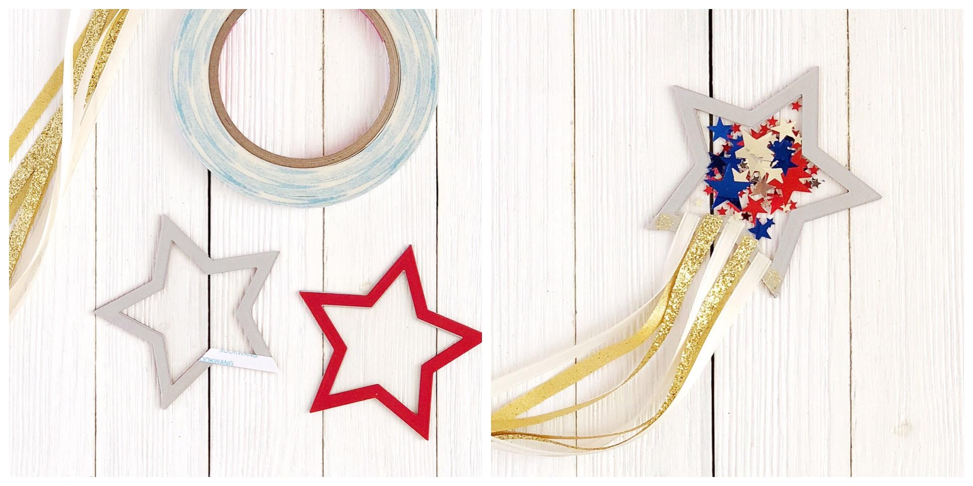 DIY Cardstock Paper Star Shaker Fourth of July Parade Wands