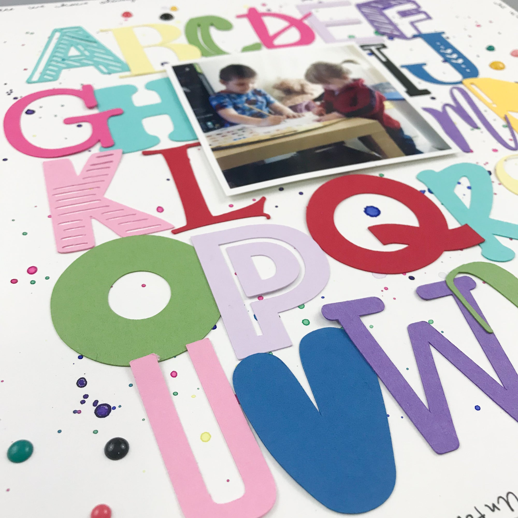 DIY Cardstock Paper Alphabet Soup Scrapbook Layout