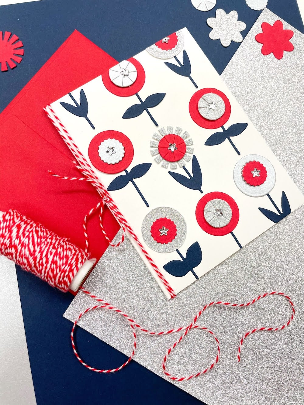 finished Americana Paper Flowers Card